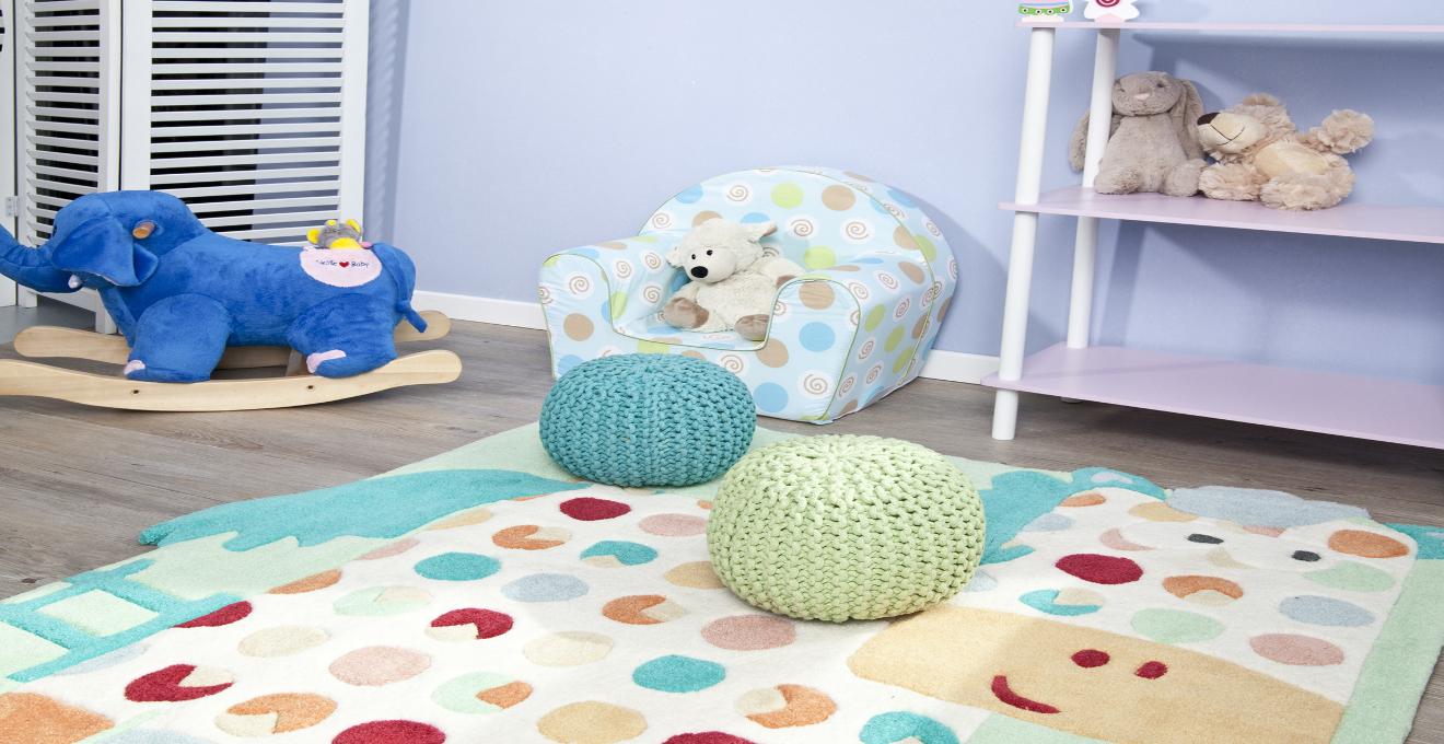 tyrkysový dětský koberec