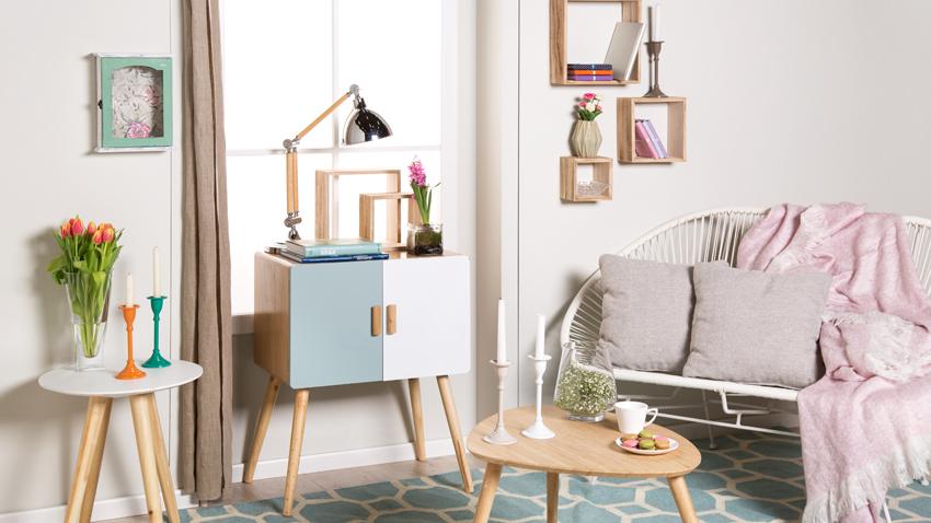 obývací pokoj v pastelových tónech