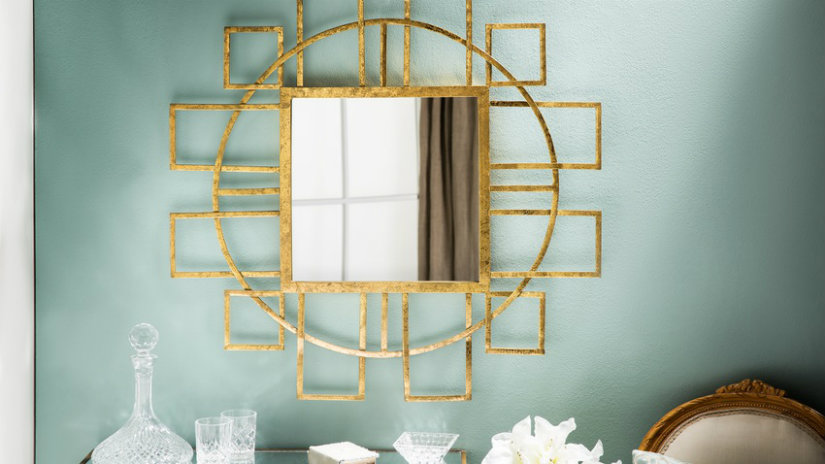 zlaté vintage zrcadlo