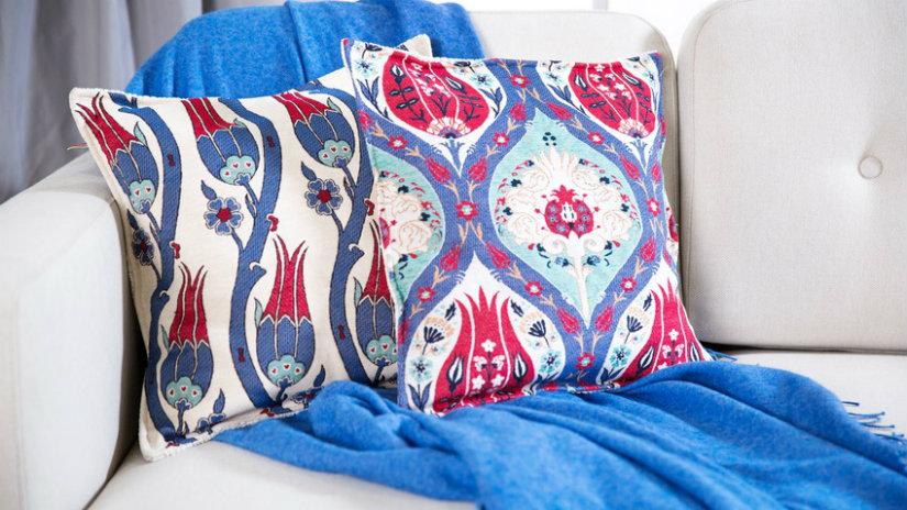 modrá bavlněná deka