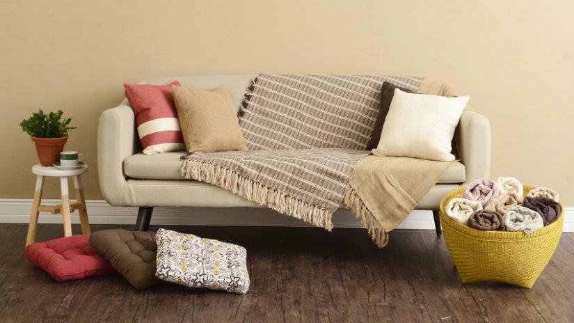 béžová bavlněná deka