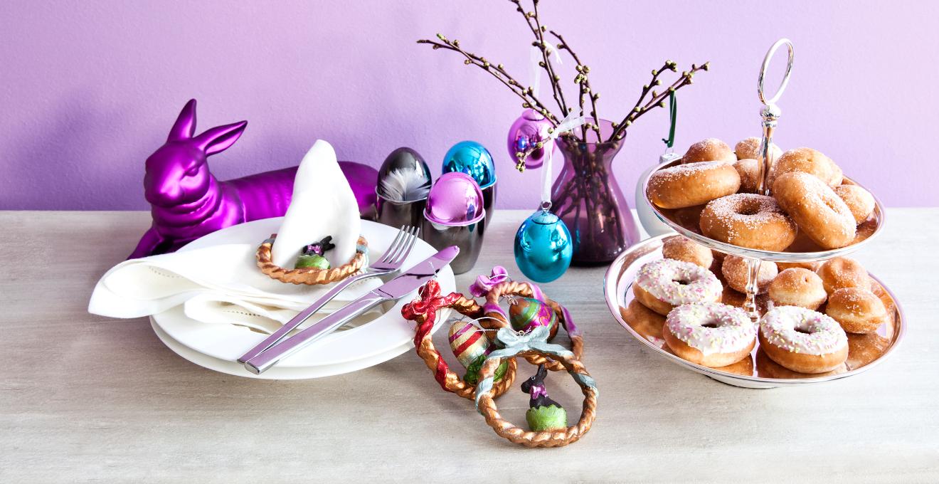 fialové velikonoční dekorace