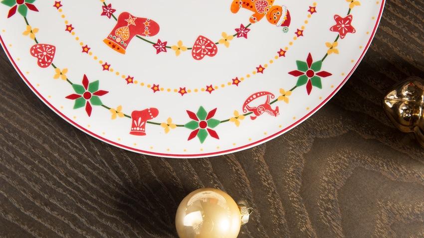 vzorované vánoční talíře