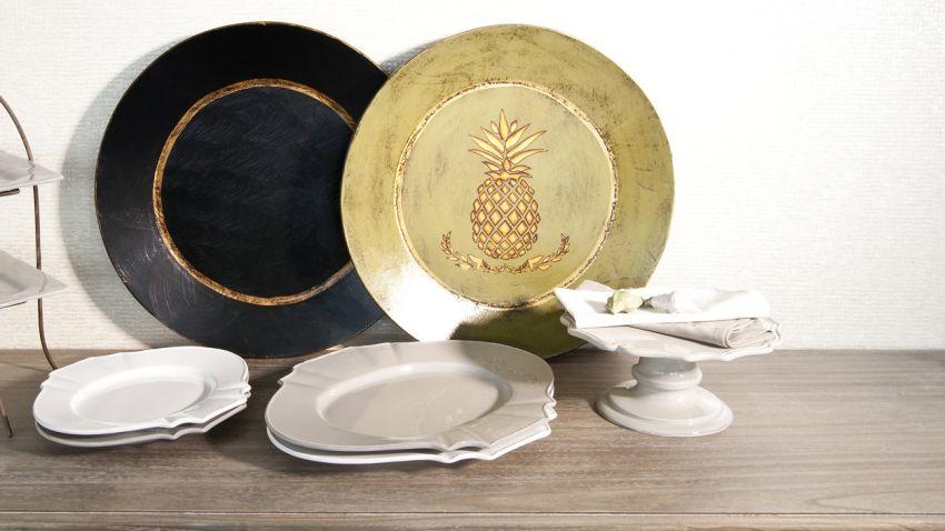 zlato černé talíře
