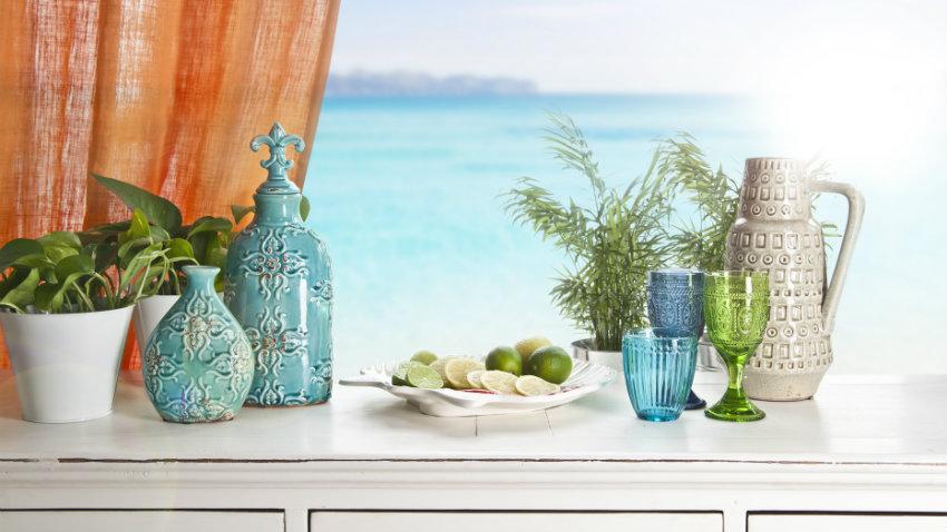 retro modrá váza