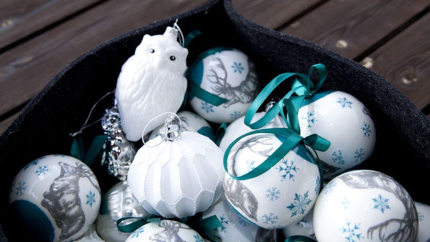 tyrkysové vánoční ozdoby