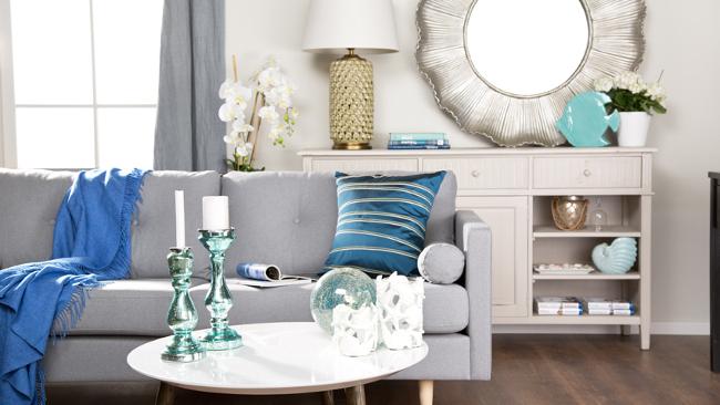 Wohnzimmer Einrichten Mit Blauen Farbtupfern