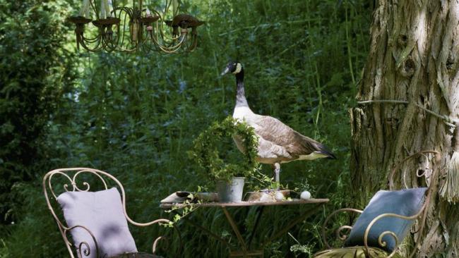 Vorgartengestaltung mit Tisch und Stühlen