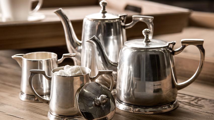 Teekanne Glas mit Stövchen