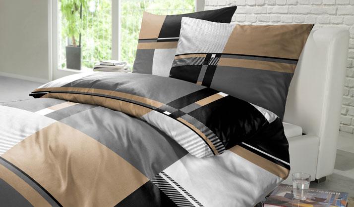 Bettwäsche von Vertical Services braun grau weiß mit Muster