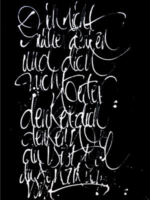 Jeannine Platz Kalligraphie Bild schwarz mit weißer Schrift