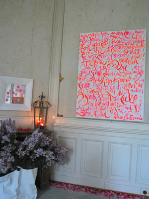 Jeannine Platz Kalligraphie Bild mit orangener Schrift