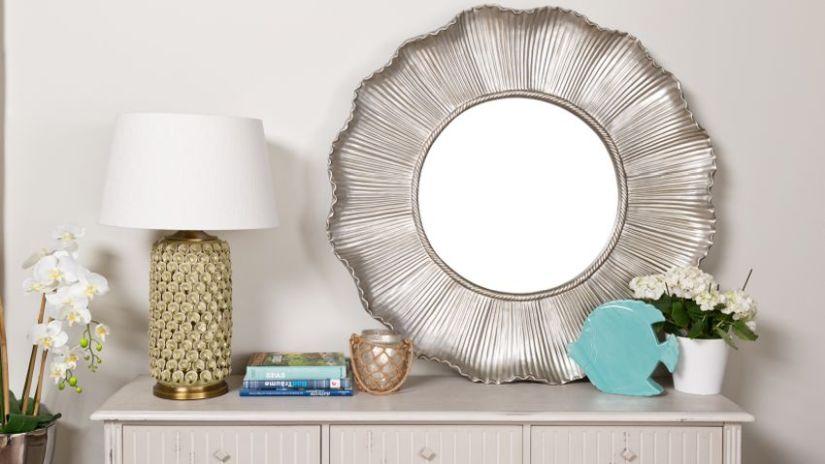 Miroir rond argenté