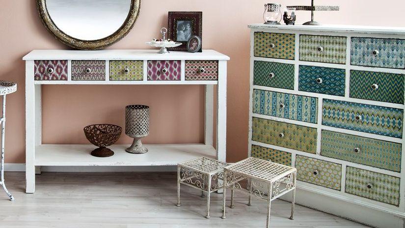 armoire d'angle, style boho, buffet, miroir rond