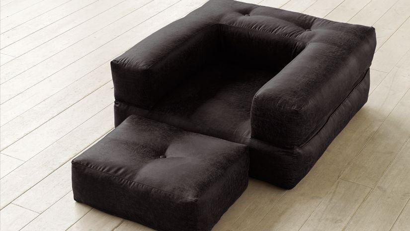 fauteuil convertible noir carré