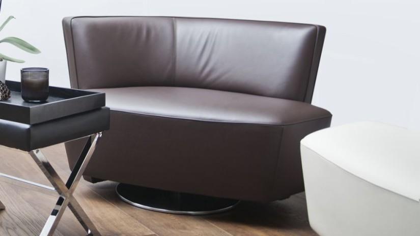 fauteuil en cuir marron design