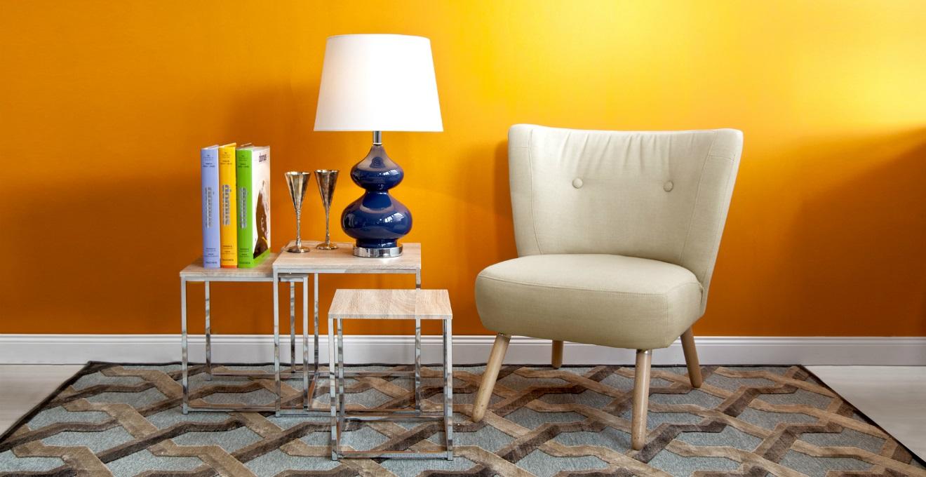 Tappeto giallo dettaglio solare dalani e ora westwing for Immagini pareti colorate soggiorno