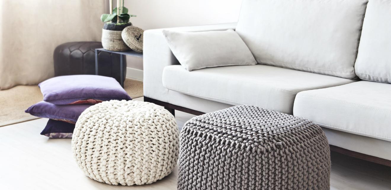 DALANI | Pouf bianco: seduta semplice ed elegante