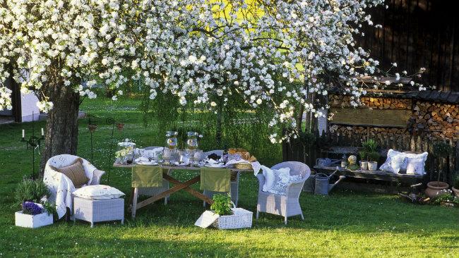 arredare il giardino tavolo sedie vimini fiori