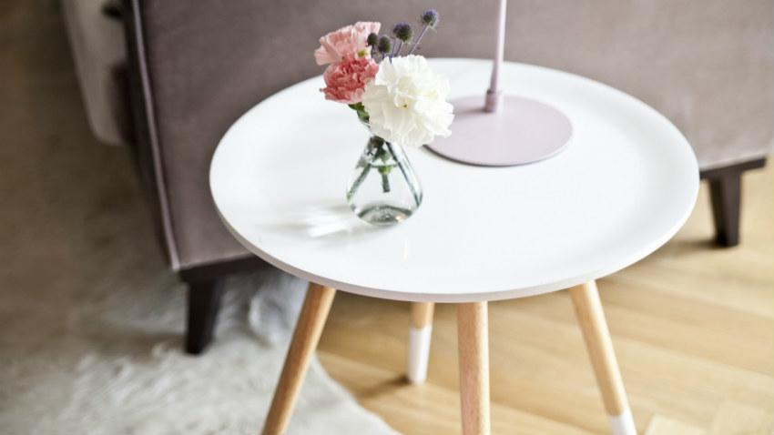Tavolino rotondo bianco