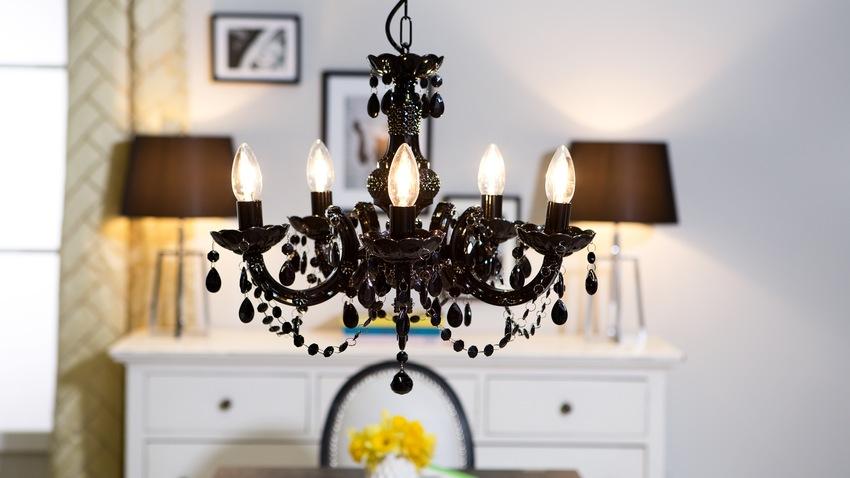 zwarte kroonluchter als hanglamp
