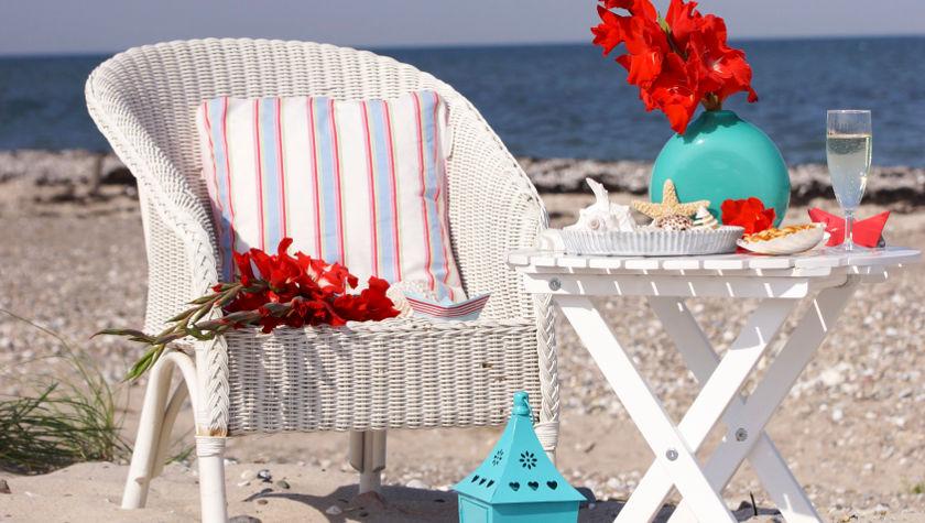 Rieten strandstoel