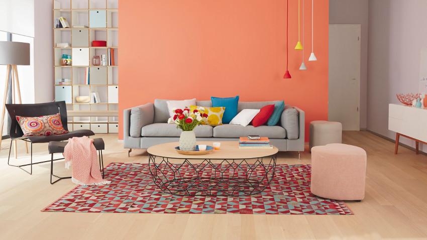 Kleur je zithoek met een turquoise vloerkleed westwing - Colores para salones ...