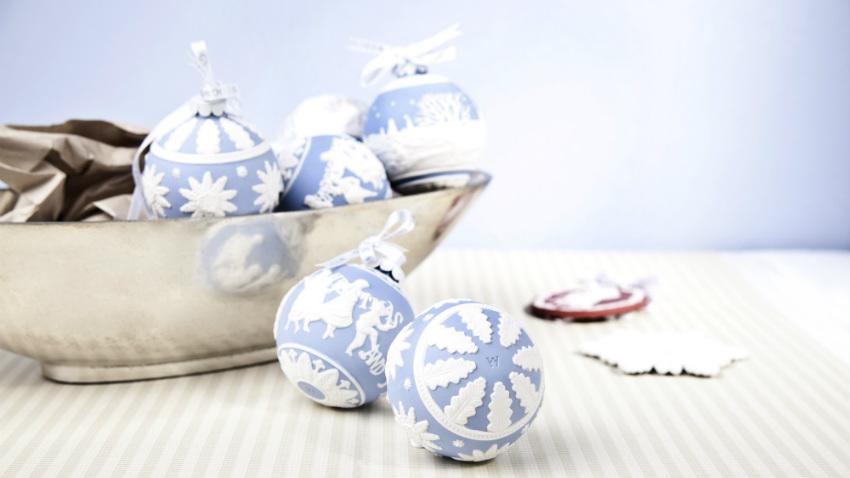 Blauwe kerstballen