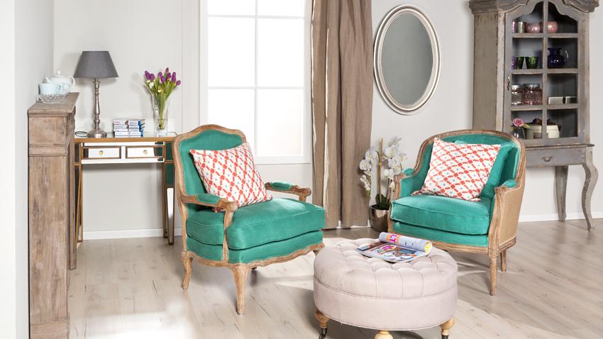 landelijke woonkamer groen retro klassieke romantische stijl