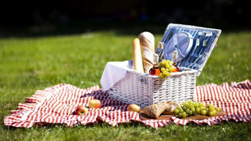 kosz piknikowy z wyposażeniem