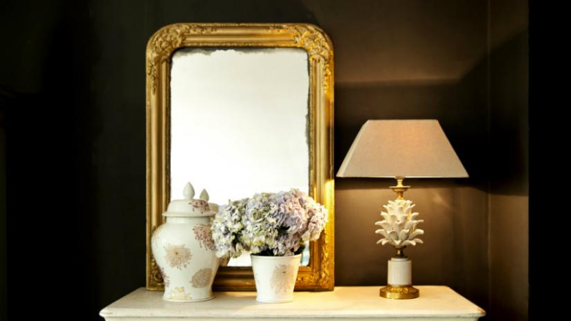 lustro w złotej ramie prostokątne