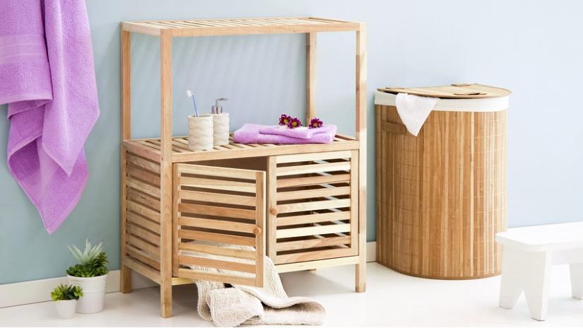 regał łazienkowy bambusowy