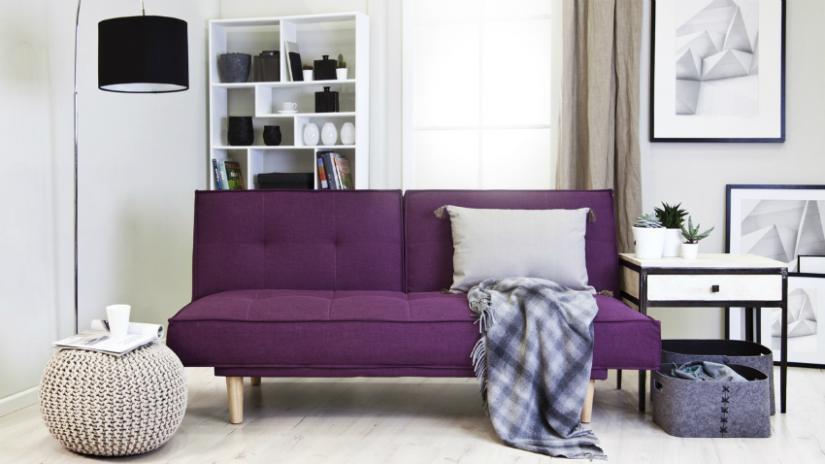 sofa nowoczesna fioletowa