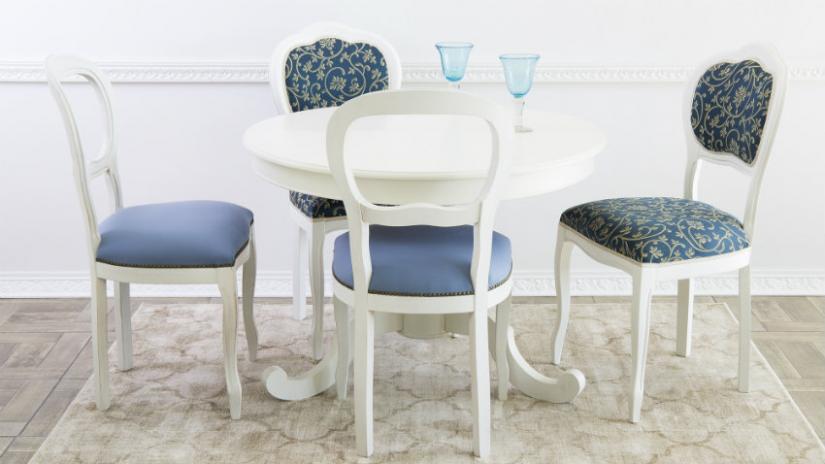 stół okrągły biały do jadalni