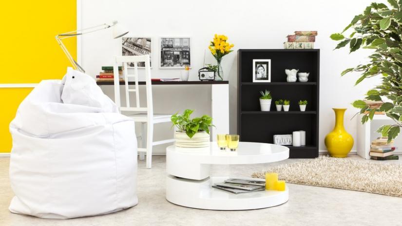 stół okrągły biały do salonu