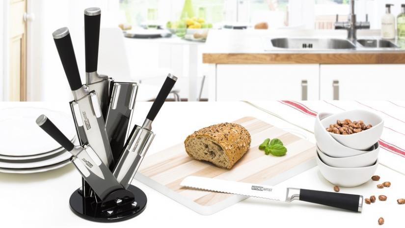 noże kuchenne tytanowe na stojaku