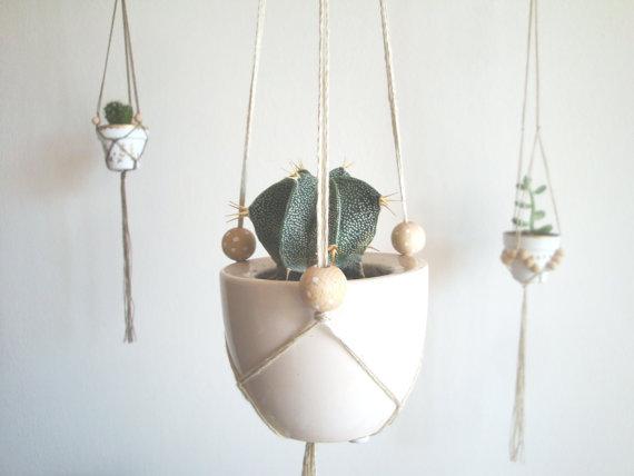 Westwing- Floating Flowers biała dniczka z kaktusem wisząca z sufitu na białych sznurkach