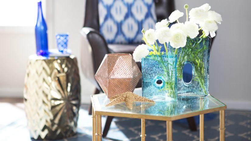 Tyrkysové dekorácie na stôl