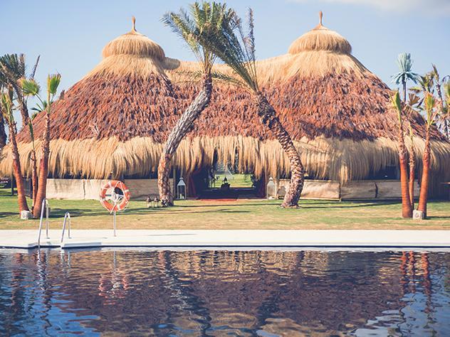 Dos palmeras juegan, divertidas a crear formas frente a la palapa africana, uno de los escenarios más llamativos del recinto.