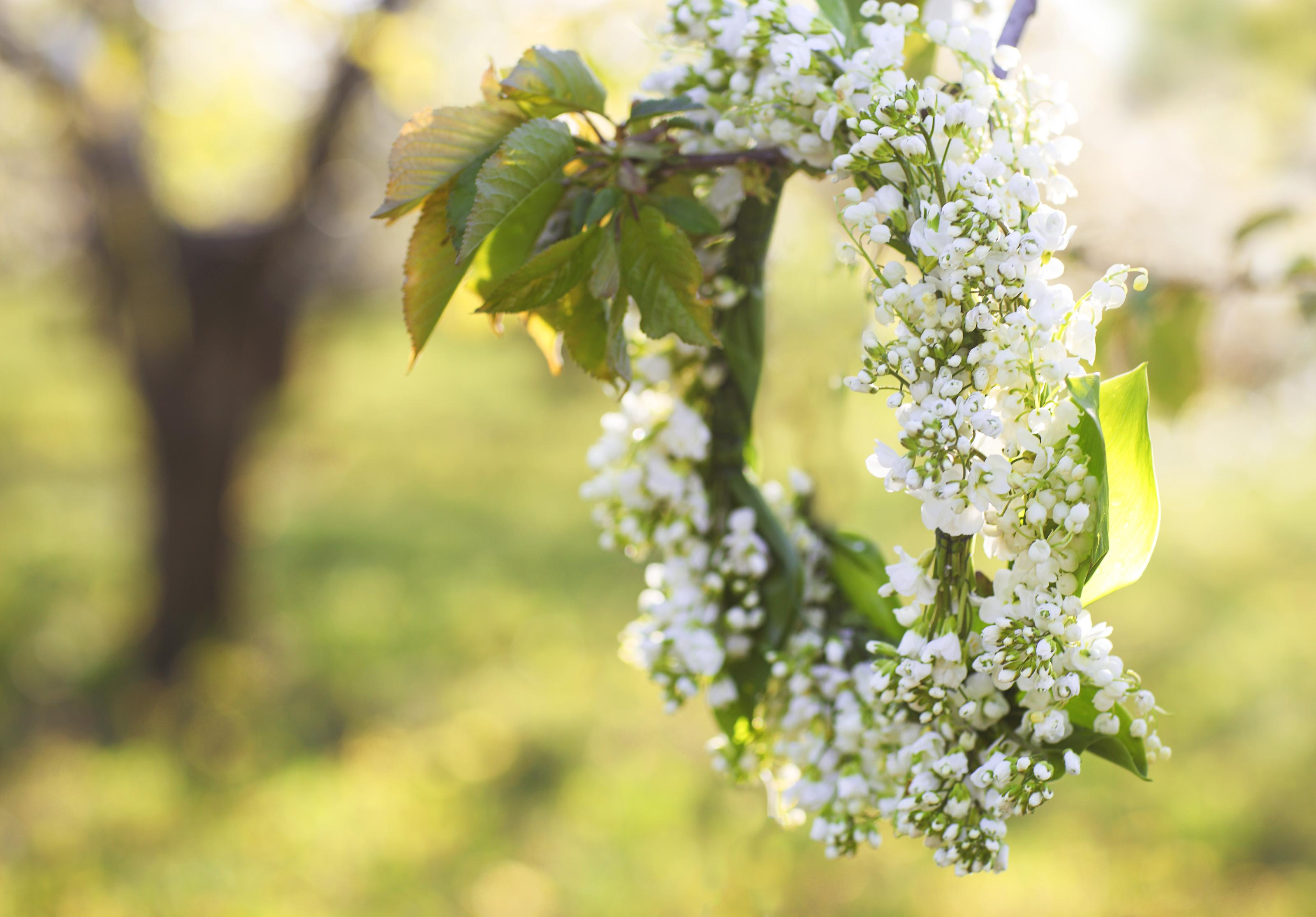 Las coronas de flores suelen incluir ramas de abedul, donde se insertan después diferentes variedades de flores.