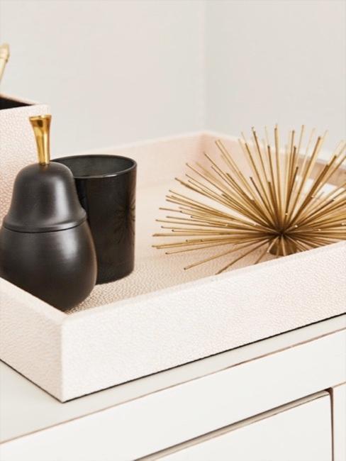 Vassoio e portapenne in pelle rosa stingray con oggetti decorativi in oro e nero