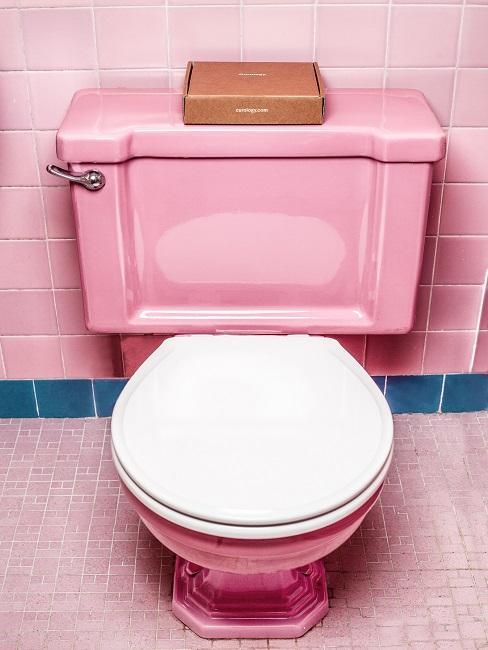 Rosa WC in gereinigtem Zustand mit weißem Toilettendeckel