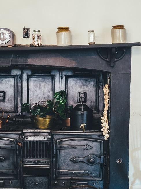 dispensa in colori scuri con vasi, pentole e piante