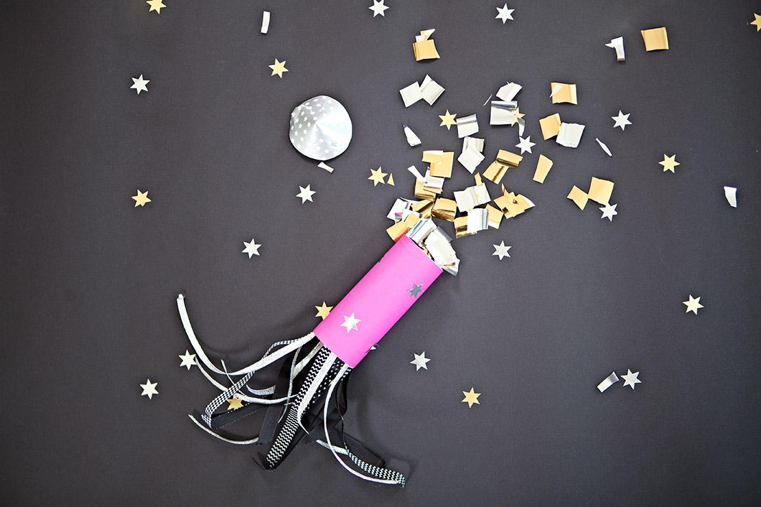 Cohetes con confeti DIY para el cotillón de Nochevieja