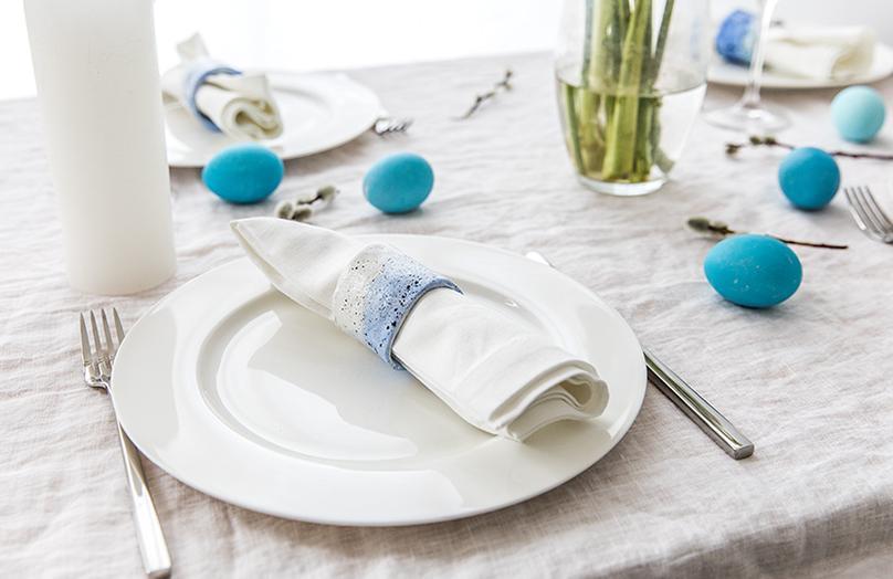 Servilletero de primavera con efecto porcelana