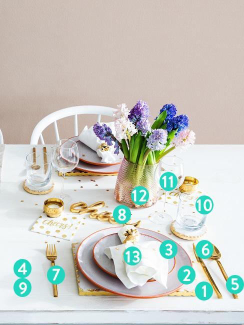 Una tavola adeguatamente apparecchiata con piatti, posate, posate, bicchieri e decorazioni abbinate, compresi i numeri per la seguente descrizione nel testo
