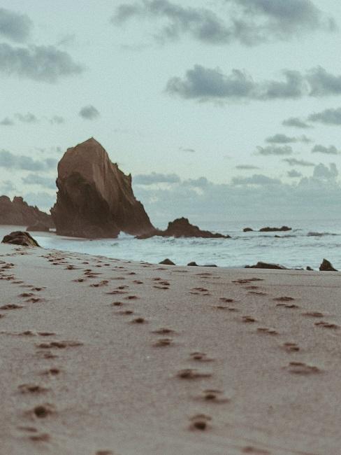 Meeresküste mit Strand und Meer.