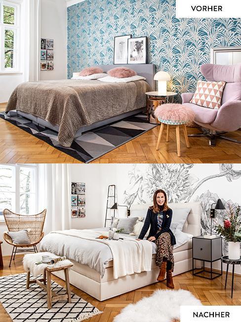 Vorher Nacher Bilder des Schlafzimmers von Susanne Heßlenberg