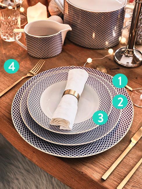 Table dressée avec 3 assiettes, couverts et serviette dans un rond
