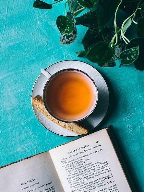 Teezeremonie Tasse mit Tee gefüllt neben Buch